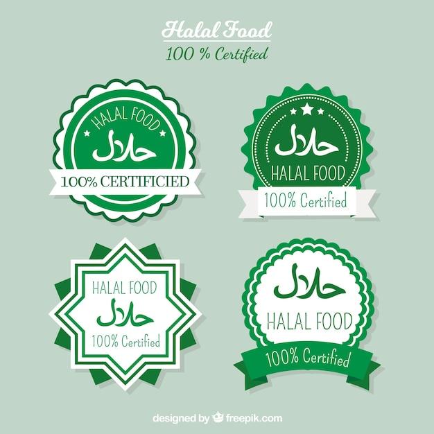 Coleção de rótulo de comida halal com design plano Vetor grátis