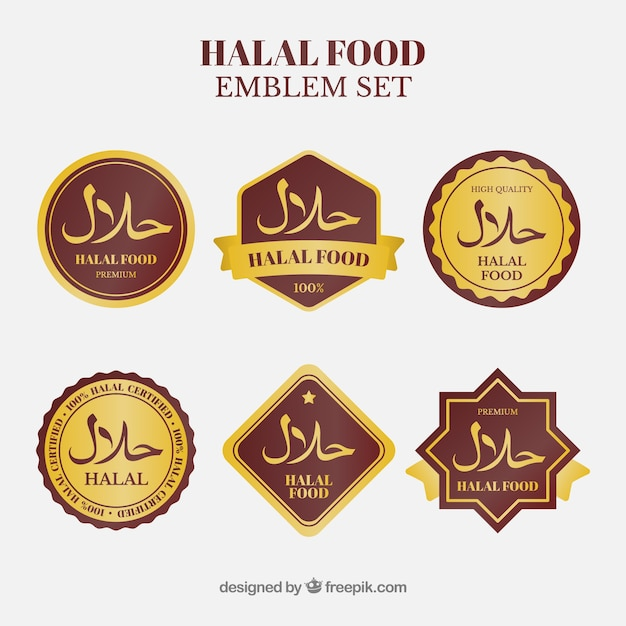 Coleção de rótulo de comida halal com estilo dourado Vetor Premium