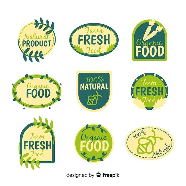 Coleção de rótulo de comida orgânica plana Vetor grátis