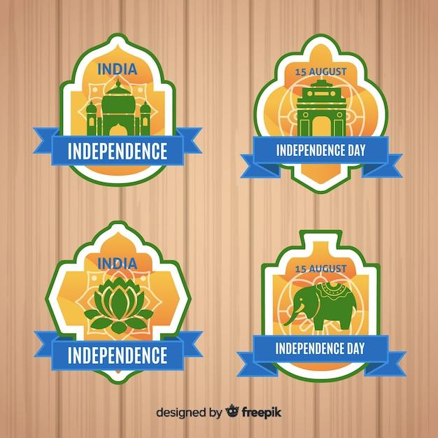 Coleção de rótulo de dia da independência de india Vetor grátis