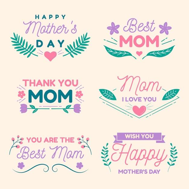 Coleção de rótulo de dia das mães de design plano Vetor grátis