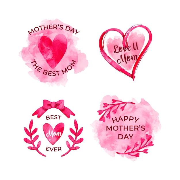 Coleção de rótulo de dia das mães em aquarela Vetor grátis