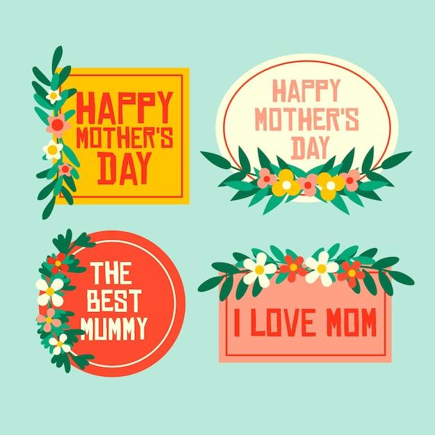 Coleção de rótulo de dia das mães estilo simples Vetor grátis