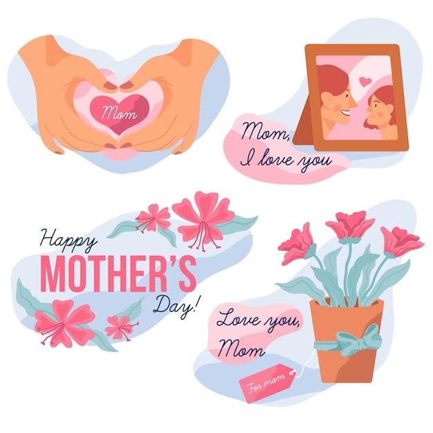 Coleção de rótulo de dia das mães Vetor grátis