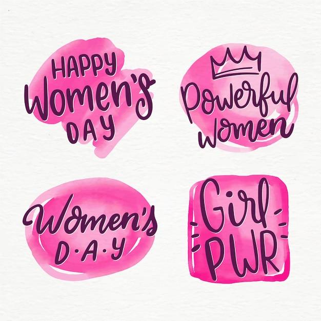 Coleção de rótulo de dia das mulheres de letras Vetor grátis