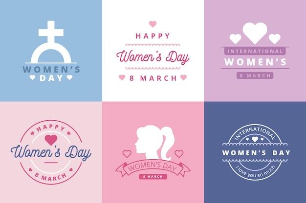 Coleção de rótulo de dia das mulheres plana Vetor grátis