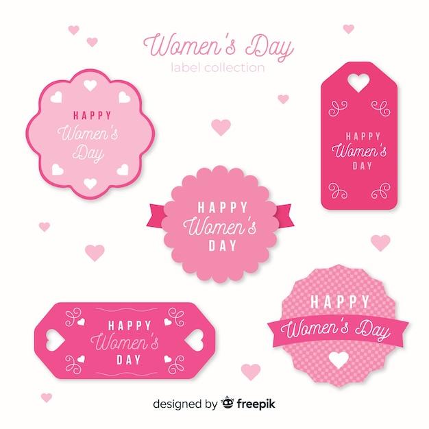 Coleção de rótulo de dia das mulheres Vetor Premium