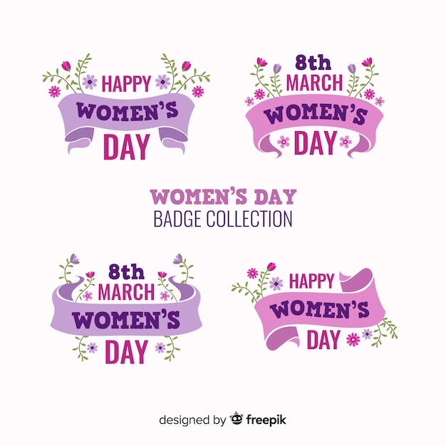 Coleção de rótulo de dia das mulheres Vetor grátis