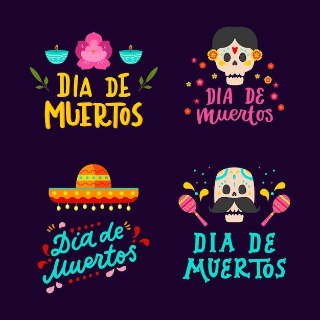 Coleção de rótulo de dia de muertos em design plano Vetor grátis