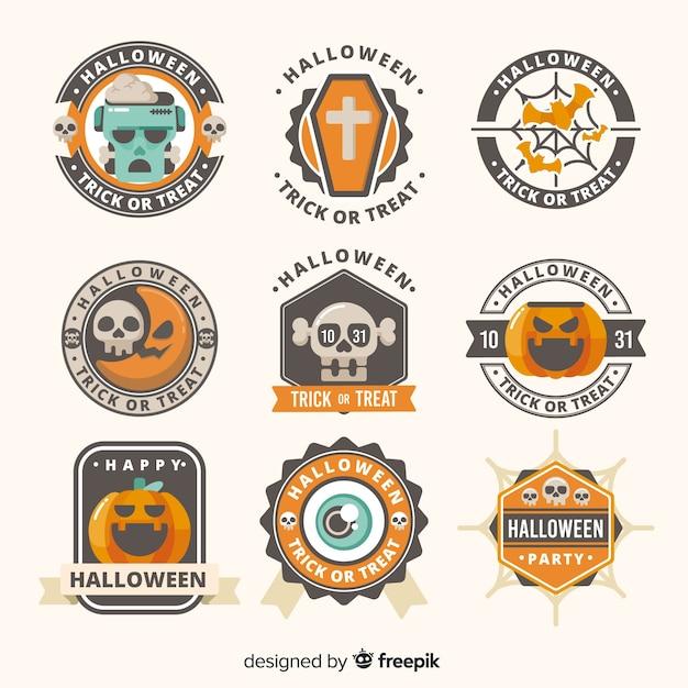 Coleção de rótulo de halloween Vetor grátis