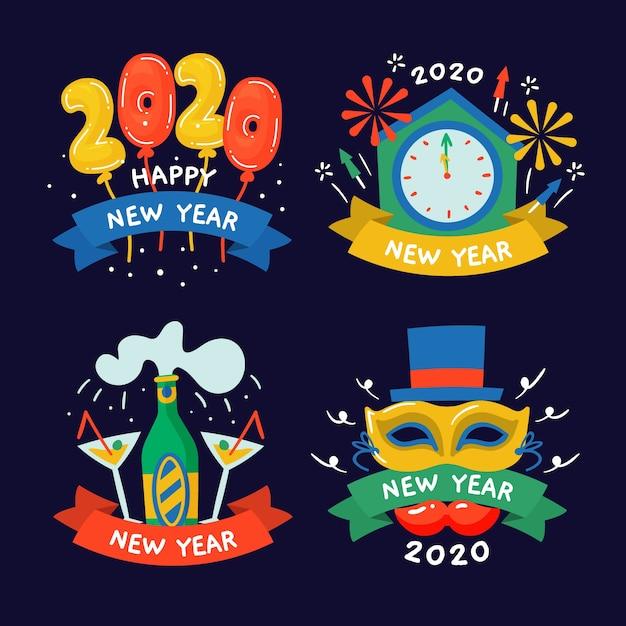 Coleção de rótulo de mão desenhada ano novo 2020 Vetor grátis
