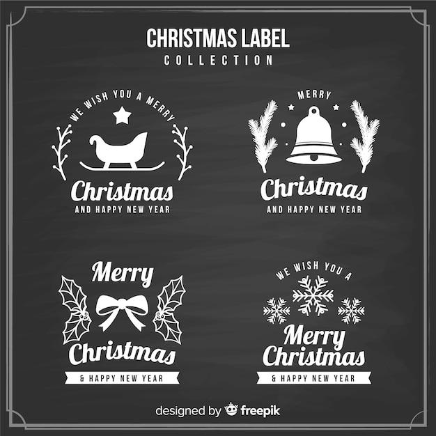 Coleção de rótulo de natal de quadro-negro Vetor grátis