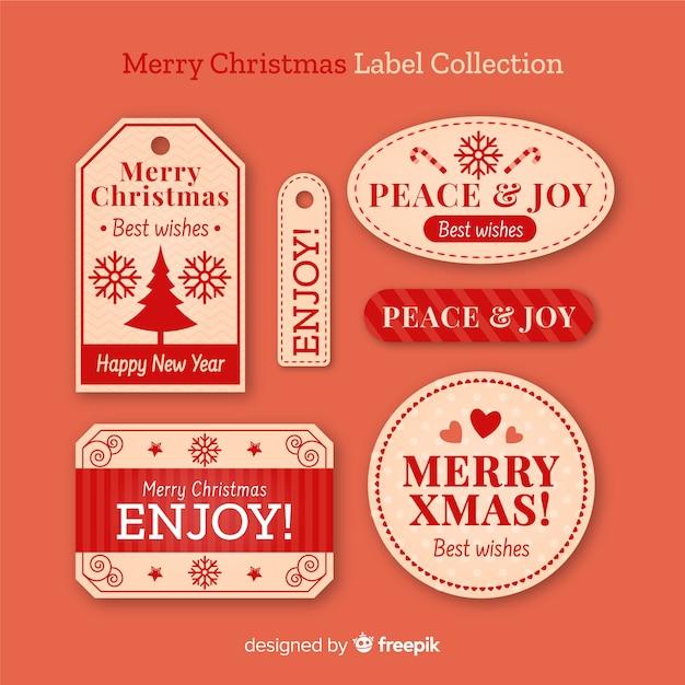 Coleção de rótulo de natal vintage Vetor grátis