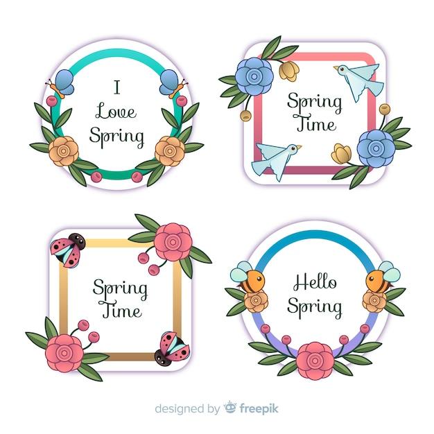 Coleção de rótulo de primavera de quadro animal Vetor grátis