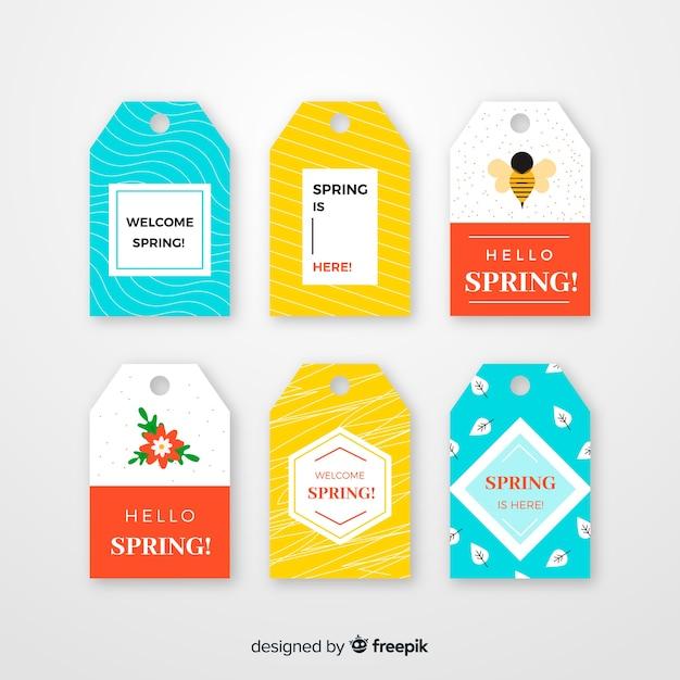 Coleção de rótulo de primavera Vetor grátis