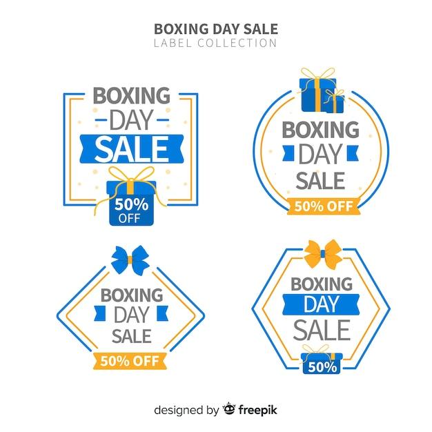 Coleção de rótulo de venda de dia de boxe Vetor grátis