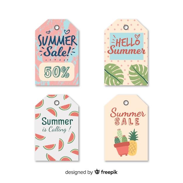 Coleção de rótulo de venda de verão Vetor grátis