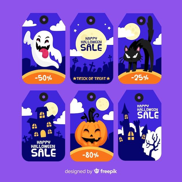 Coleção de rótulo de venda plana de halloween Vetor grátis