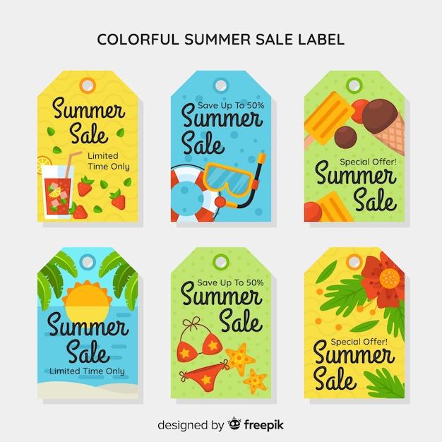 Coleção de rótulo de venda verão colorido Vetor grátis