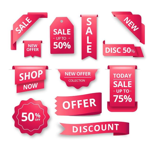 Coleção de rótulo de vendas realista gradiente vermelho Vetor Premium