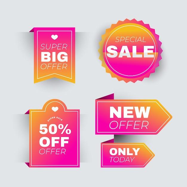 Coleção de rótulo de vendas rosa realista Vetor grátis