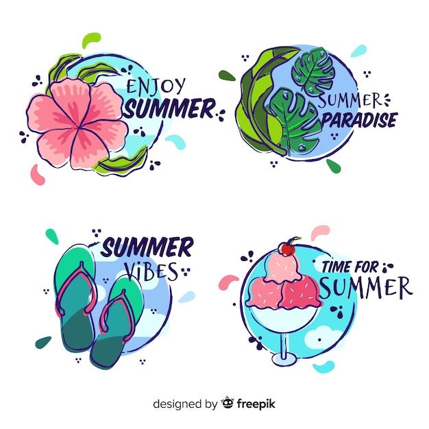 Coleção de rótulo de verão desenhada de mão Vetor grátis