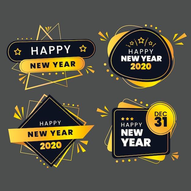 Coleção de rótulo novo ano 2020 em design plano Vetor grátis