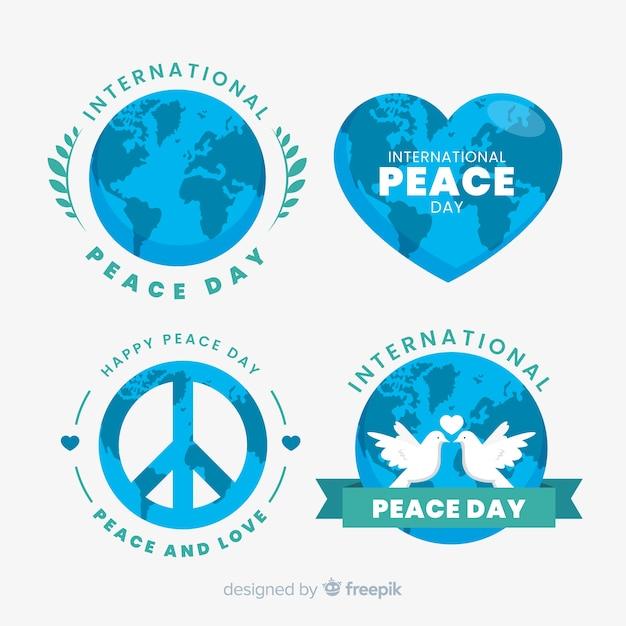 Coleção de rótulo plana dia da paz em fundo branco Vetor grátis
