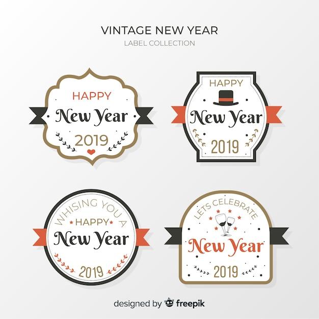 Coleção de rótulo vintage ano novo Vetor grátis