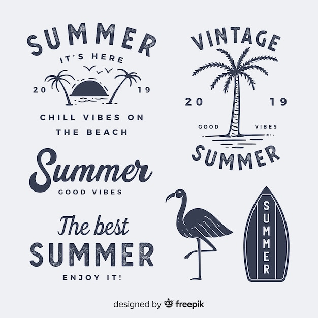 Coleção de rótulo vintage verão plana Vetor grátis