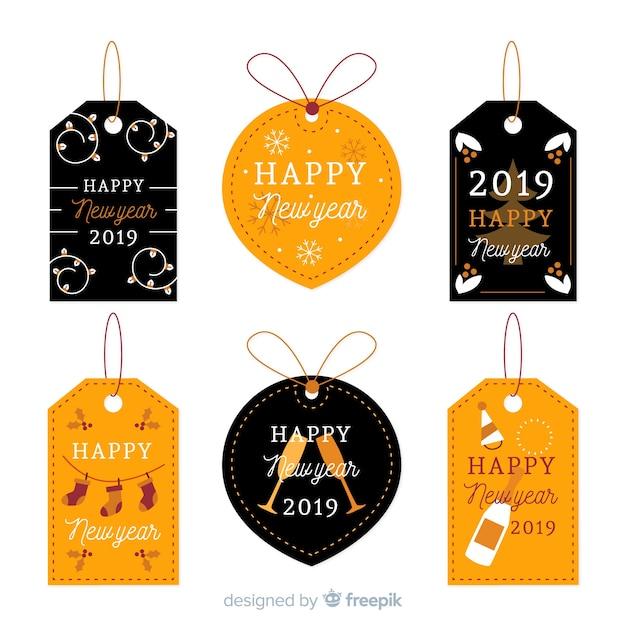 Coleção de rótulos de ano novo de 2019 Vetor grátis