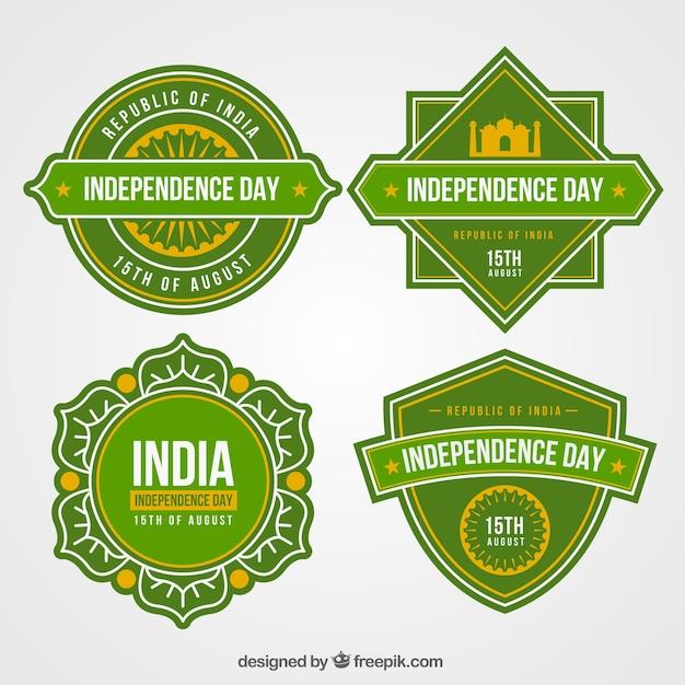 Coleção de rótulos de dia da independência indiana Vetor grátis