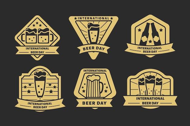Coleção de rótulos de dia internacional da cerveja Vetor grátis