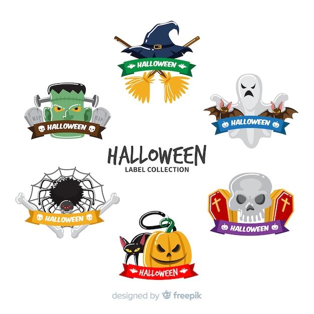 Coleção de rótulos de halloween em design plano Vetor grátis