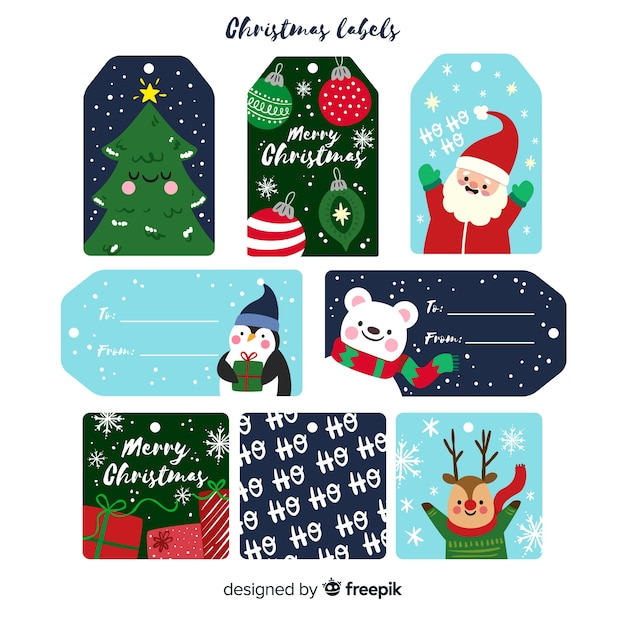 Coleção de rótulos de natal em design plano com desenhos fofos Vetor grátis