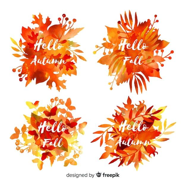 Coleção de rótulos de outono em aquarela Vetor grátis