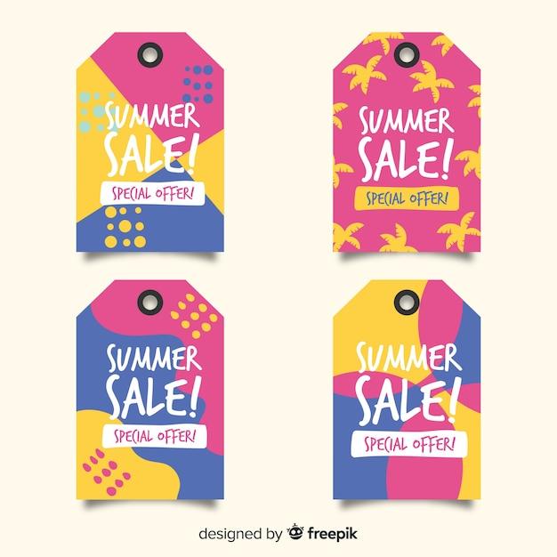 Coleção de rótulos de venda de verão colorido Vetor grátis