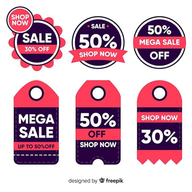 Coleção de rótulos de vendas design plano Vetor grátis