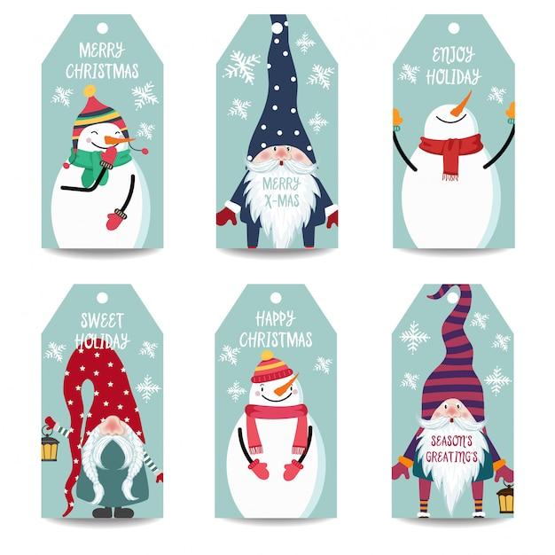 Coleção de rótulos ou etiquetas de natal com boneco de neve e gnomos isolados Vetor Premium