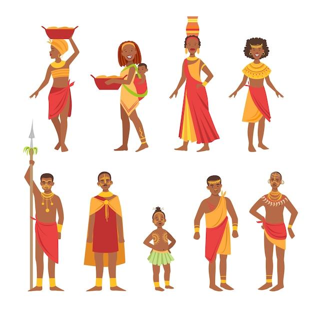 Coleção de roupa tribal nacional africana Vetor Premium
