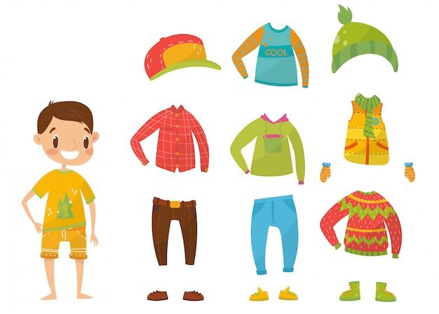 Coleção de roupas de meninos, conjunto de roupas e acessórios ilustrações Vetor Premium