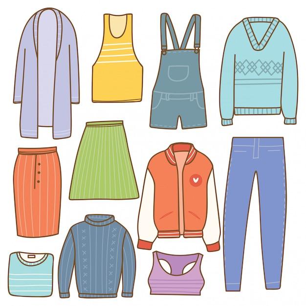 Coleção de roupas de mulher em estilo doodle Vetor Premium