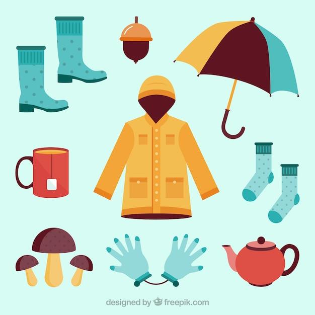 Coleção de roupas de outono Vetor grátis