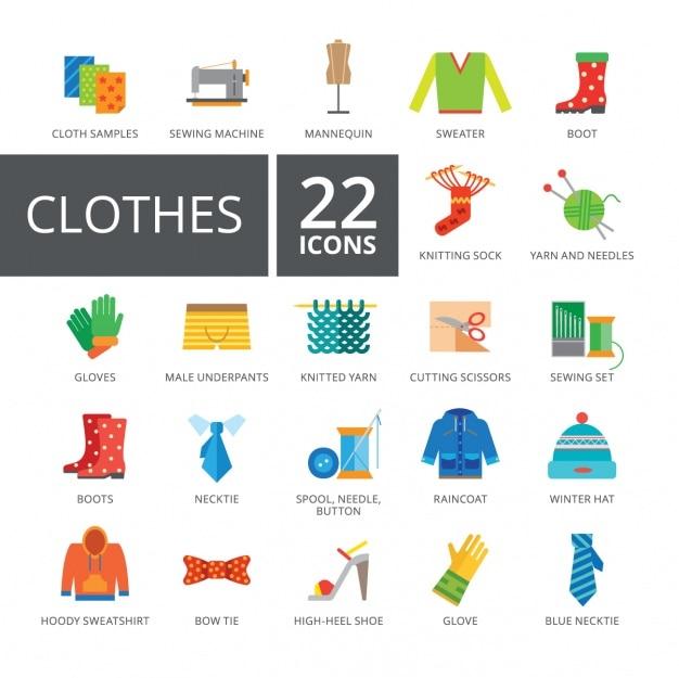 Coleção de roupas ícones Vetor grátis