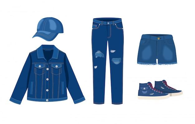 Coleção de roupas jeans. boné, jaqueta, bermuda e tênis. moda moderno rasgado denim ilustração de roupas casuais, modelos de roupas de roupa jeans em fundo branco Vetor Premium