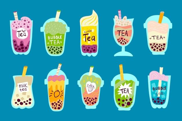 Coleção de sabores de chá de bolha desenhada à mão Vetor grátis