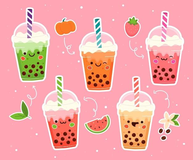 Coleção de sabores de chá de bolha desenhada à mão Vetor Premium