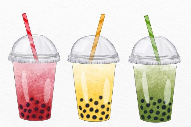 Coleção de sabores de chá de bolhas de estilo desenhado à mão Vetor grátis