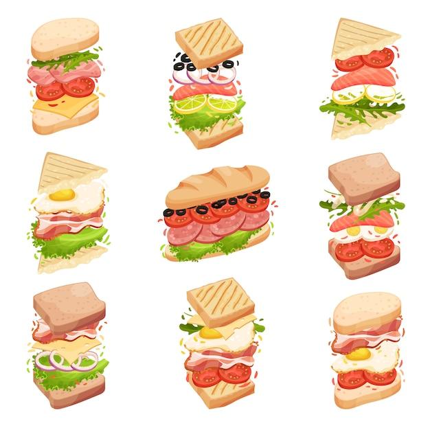 Coleção de sanduíches. diferentes formas e composição. ilustração. Vetor Premium