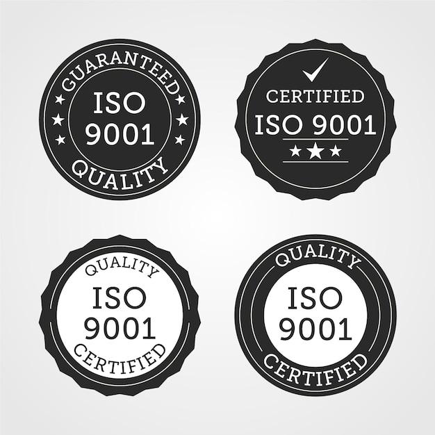 Coleção de selo de certificação iso Vetor grátis